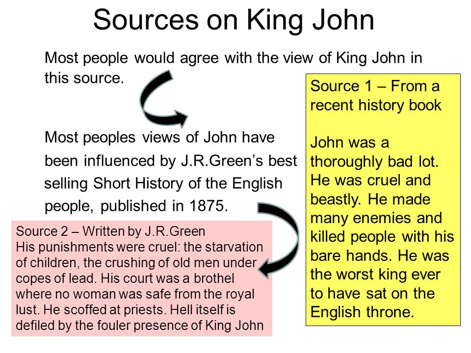 Sources on King John Most people would agree with the view of King John in this source. Most peoples views of John have been influenced by J.R.Green's