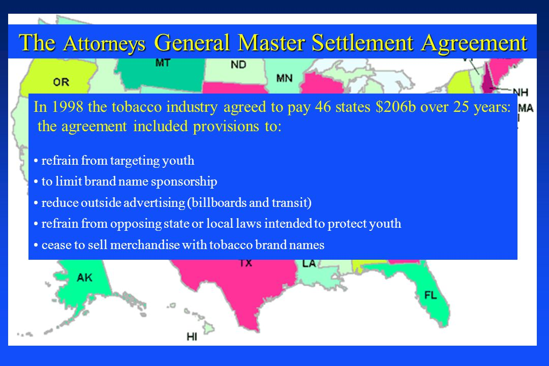 The Attorneys General Master Settlement Agreement In 1998 the tobacco industry agreed to pay 46 states $206b over 25 years: the agreement included pro