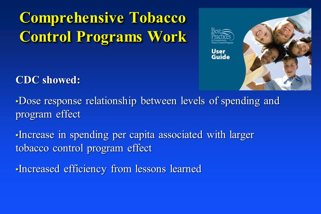 Comprehensive Tobacco Control Programs Work CDC showed: Dose response relationship between levels of spending and program effect Dose response relatio