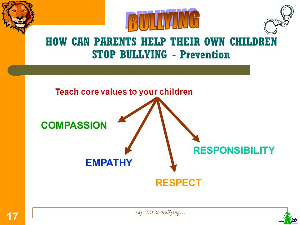 17 HOW CAN PARENTS HELP THEIR OWN CHILDREN STOP BULLYING - Prevention Say 'NO' to Bullying… Teach core values to your children COMPASSION EMPATHY RESPECT RESPONSIBILITY