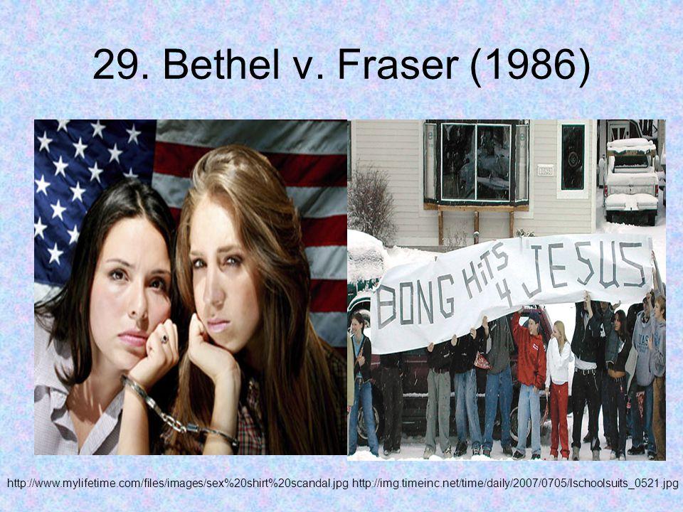 29. Bethel v. Fraser (1986) http://www.mylifetime.com/files/images/sex%20shirt%20scandal.jpghttp://img.timeinc.net/time/daily/2007/0705/lschoolsuits_0