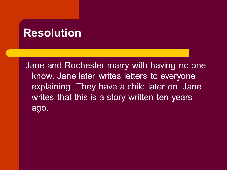 Resolution Jane and Rochester marry with having no one know.