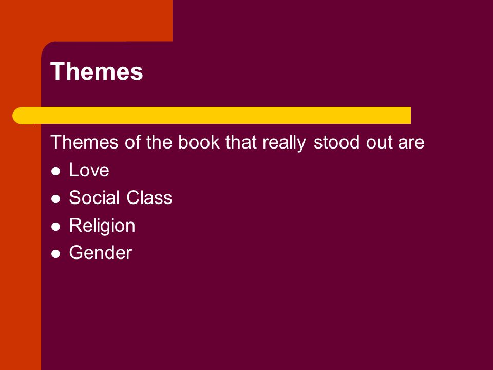 Themes Themes of the book that really stood out are Love Social Class Religion Gender