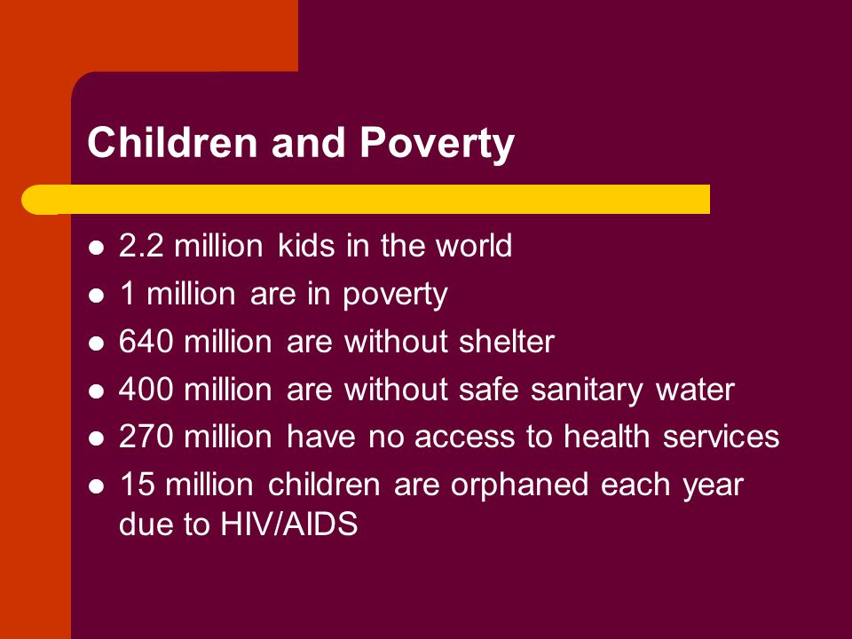 Children and Poverty 2.2 million kids in the world 1 million are in poverty 640 million are without shelter 400 million are without safe sanitary water 270 million have no access to health services 15 million children are orphaned each year due to HIV/AIDS