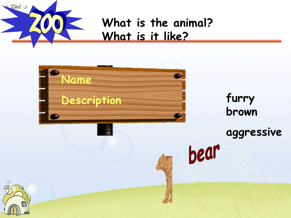 Name Description furry brown aggressive What is the animal? What is it like?