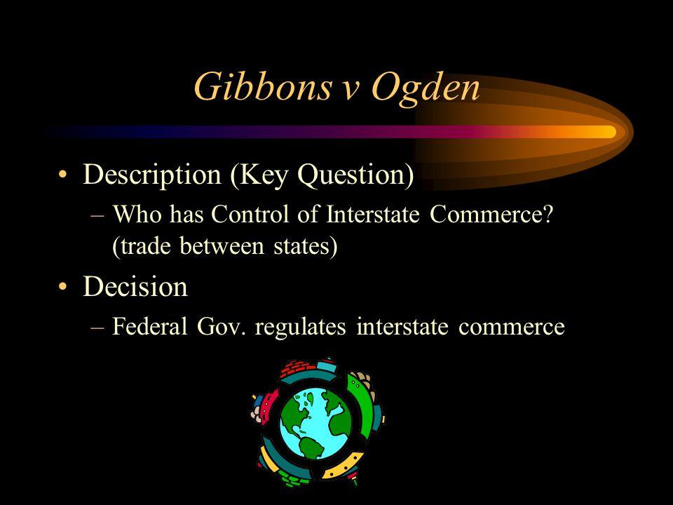 Gibbons v Ogden Description (Key Question) –Who has Control of Interstate Commerce.