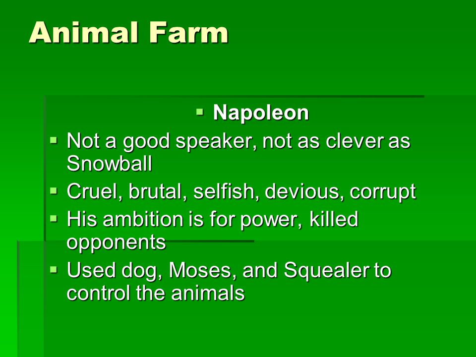 Animal Farm  Napoleon  Not a good speaker, not as clever as Snowball  Cruel, brutal, selfish, devious, corrupt  His ambition is for power, killed