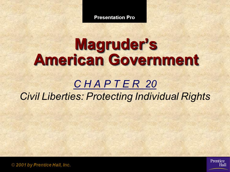 Presentation Pro © 2001 by Prentice Hall, Inc. Magruder's American Government C H A P T E R 20 Civil Liberties: Protecting Individual Rights