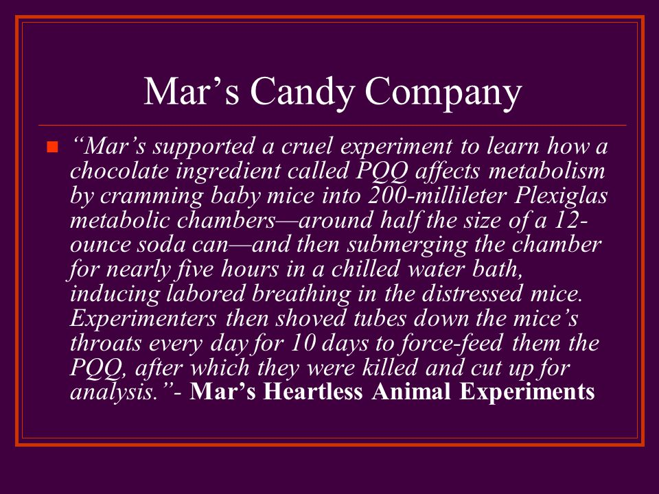 Mar's Candy Company Mar's supported a cruel experiment to learn how a chocolate ingredient called PQQ affects metabolism by cramming baby mice into 200-millileter Plexiglas metabolic chambers—around half the size of a 12- ounce soda can—and then submerging the chamber for nearly five hours in a chilled water bath, inducing labored breathing in the distressed mice.