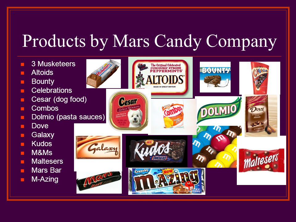 Products by Mars Candy Company 3 Musketeers Altoids Bounty Celebrations Cesar (dog food) Combos Dolmio (pasta sauces) Dove Galaxy Kudos M&Ms Maltesers Mars Bar M-Azing