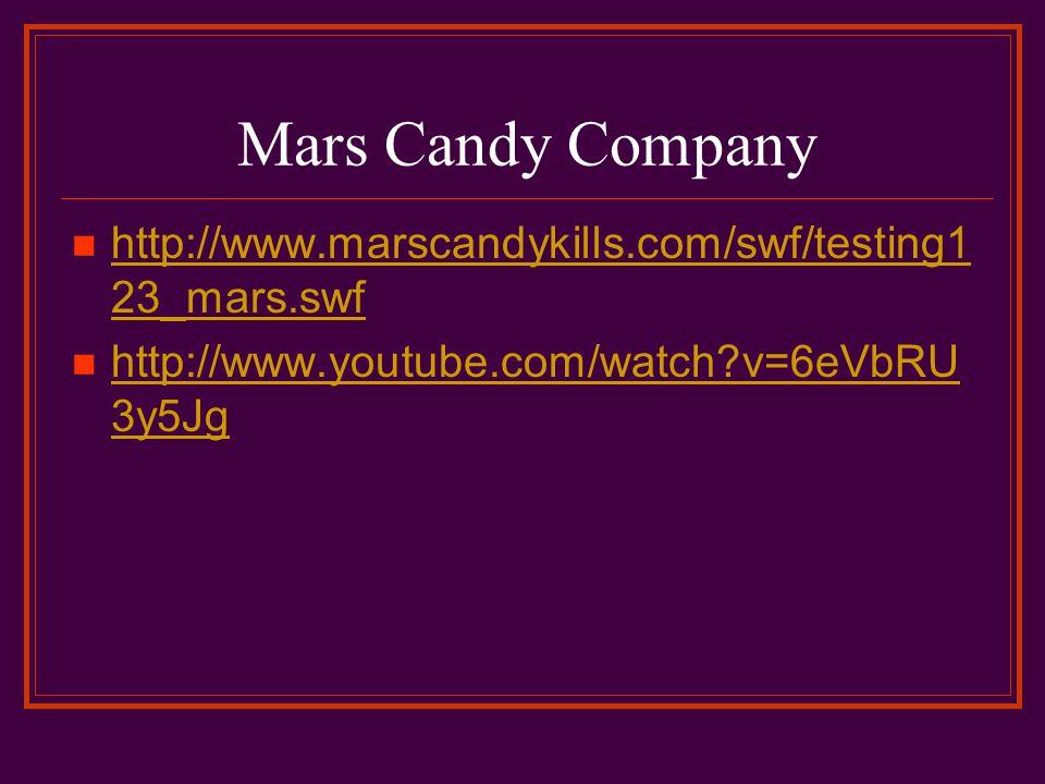 Mars Candy Company http://www.marscandykills.com/swf/testing1 23_mars.swf http://www.marscandykills.com/swf/testing1 23_mars.swf http://www.youtube.com/watch v=6eVbRU 3y5Jg http://www.youtube.com/watch v=6eVbRU 3y5Jg