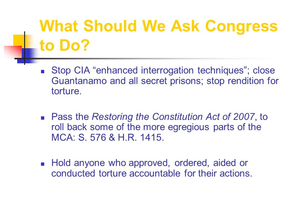 What Should We Ask Congress to Do.