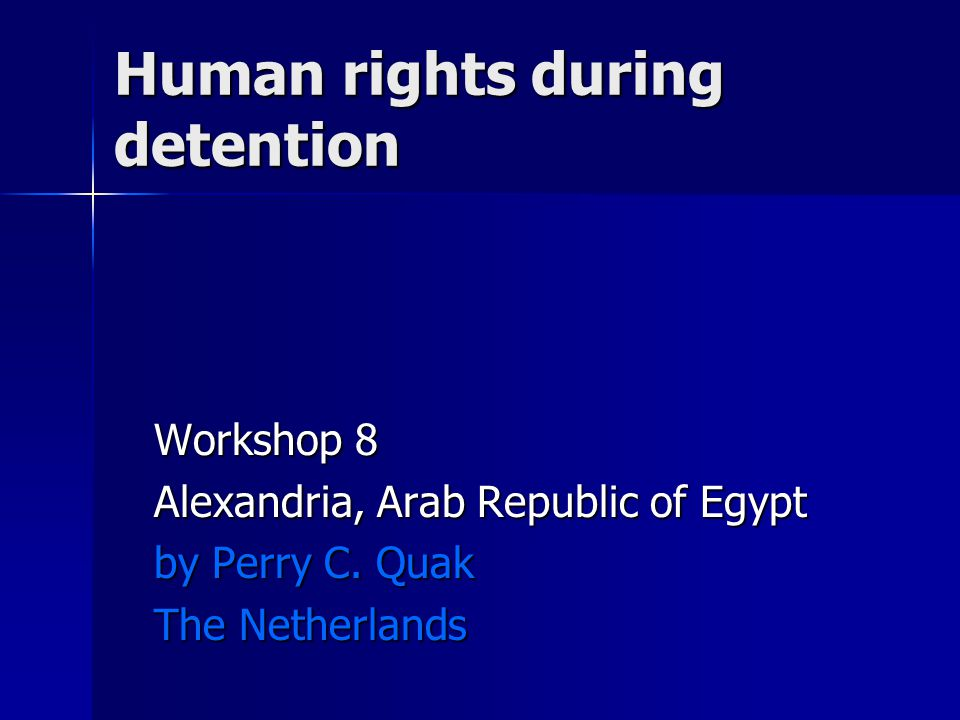 Human rights during detention Workshop 8 Alexandria, Arab Republic of Egypt by Perry C.