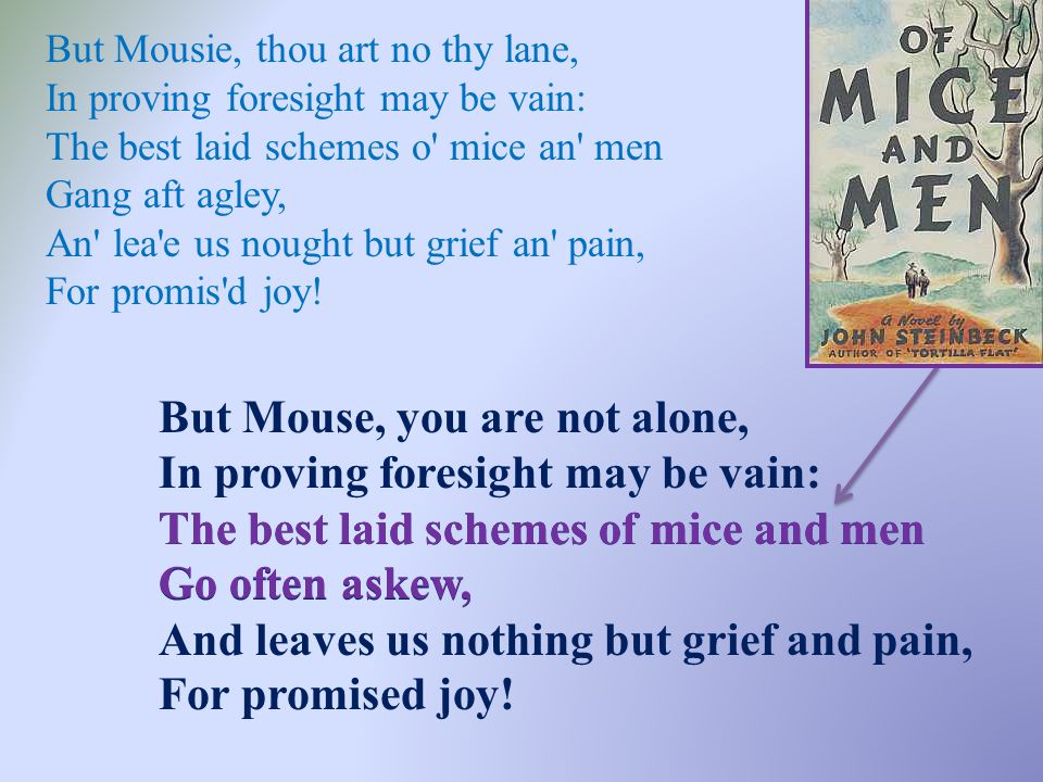 But Mousie, thou art no thy lane, In proving foresight may be vain: The best laid schemes o' mice an' men Gang aft agley, An' lea'e us nought but grie