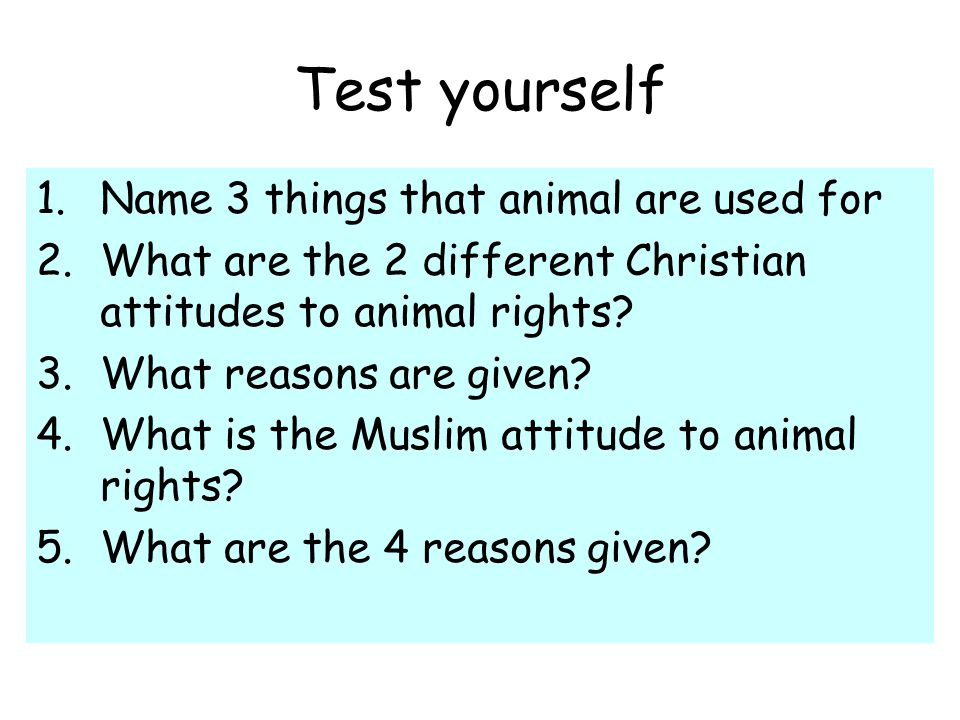 Test yourself 1.Name 3 things that animal are used for 2.What are the 2 different Christian attitudes to animal rights.