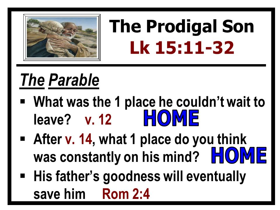 The Parable  What was the 1 place he couldn't wait to leave.