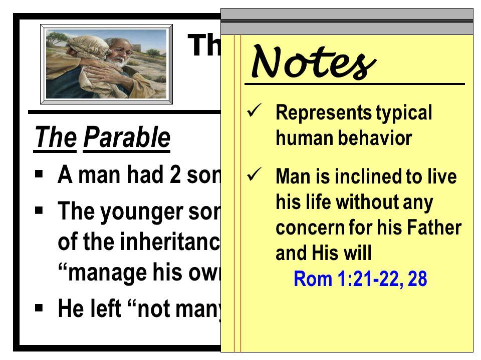 The Parable  A man had 2 sons  The younger son demanded his portion of the inheritance…he was ready to manage his own affairs vv.