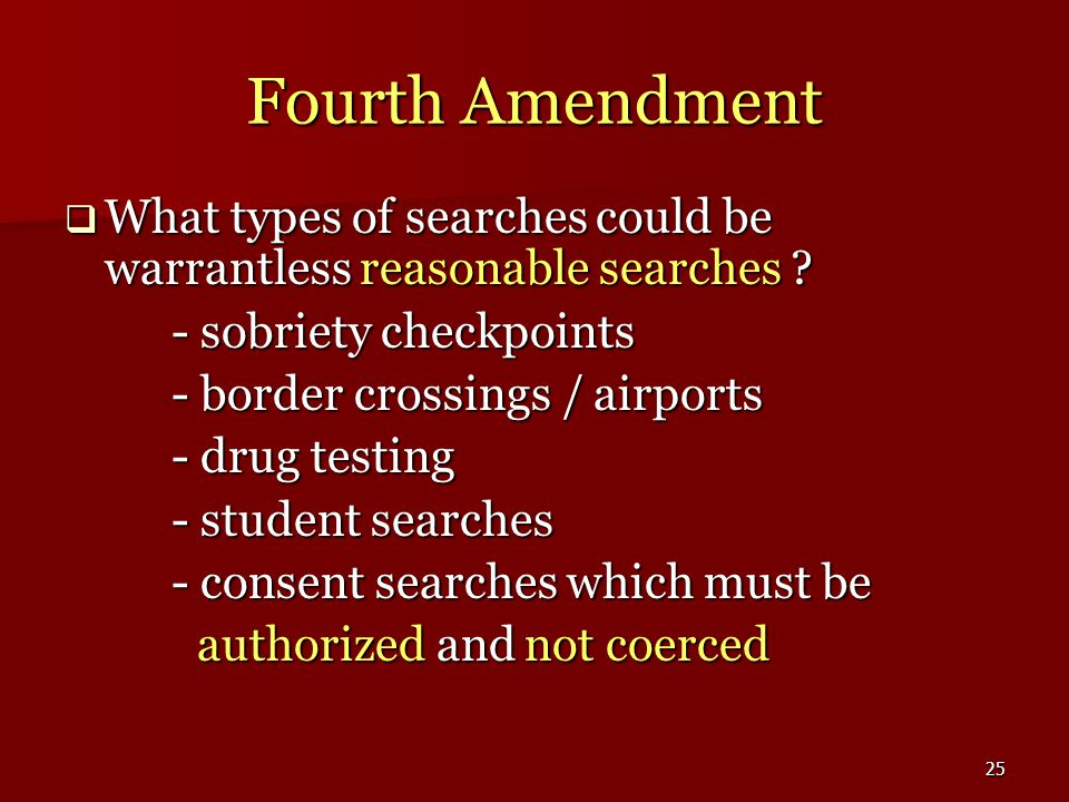 25 Fourth Amendment  What types of searches could be warrantless reasonable searches .