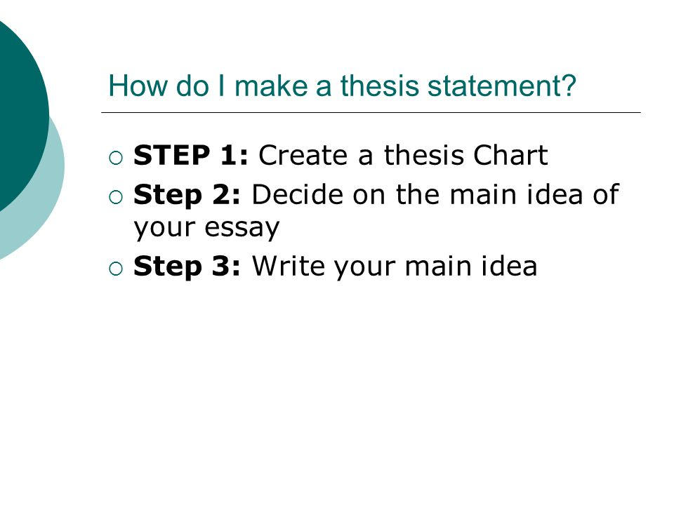 STEP 1: Write a Thesis Statement TOPICFOCUSSUPPORTING DETAILS
