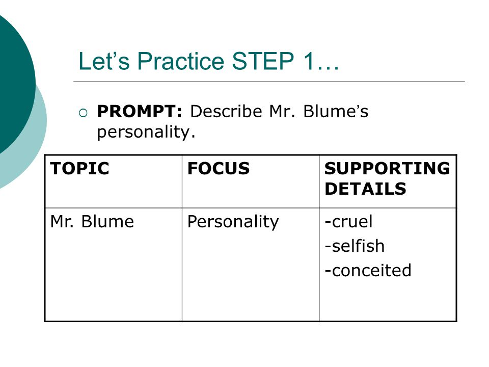 Let's Practice STEP 2… TOPICFOCUSSUPPORTING DETAILS Mr.