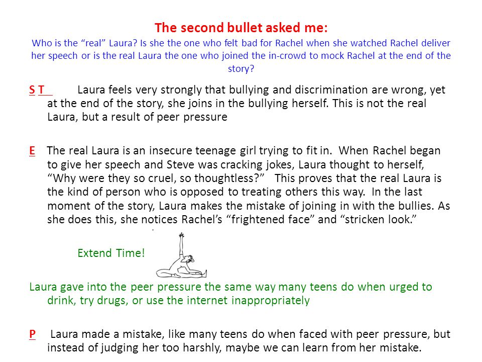 The second bullet asked me: Who is the real Laura.