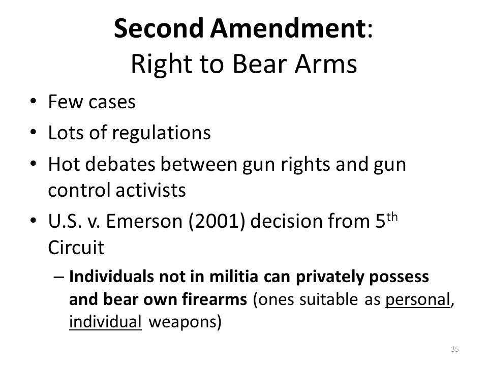 Second Amendment: Right to Bear Arms Few cases Lots of regulations Hot debates between gun rights and gun control activists U.S.
