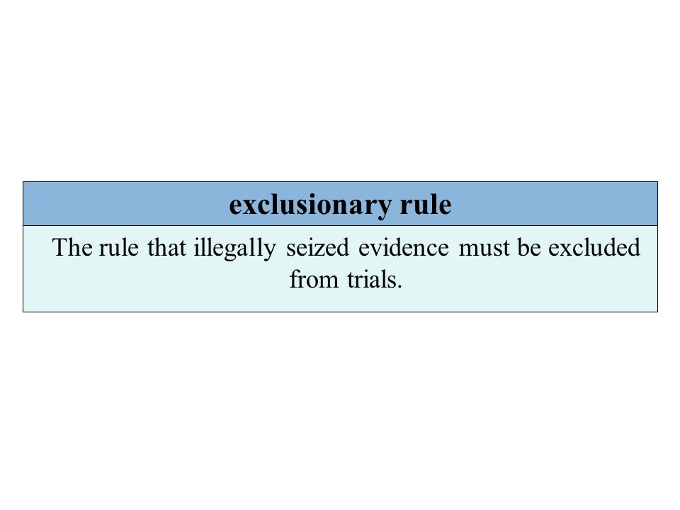 exclusionary rule The rule that illegally seized evidence must be excluded from trials.