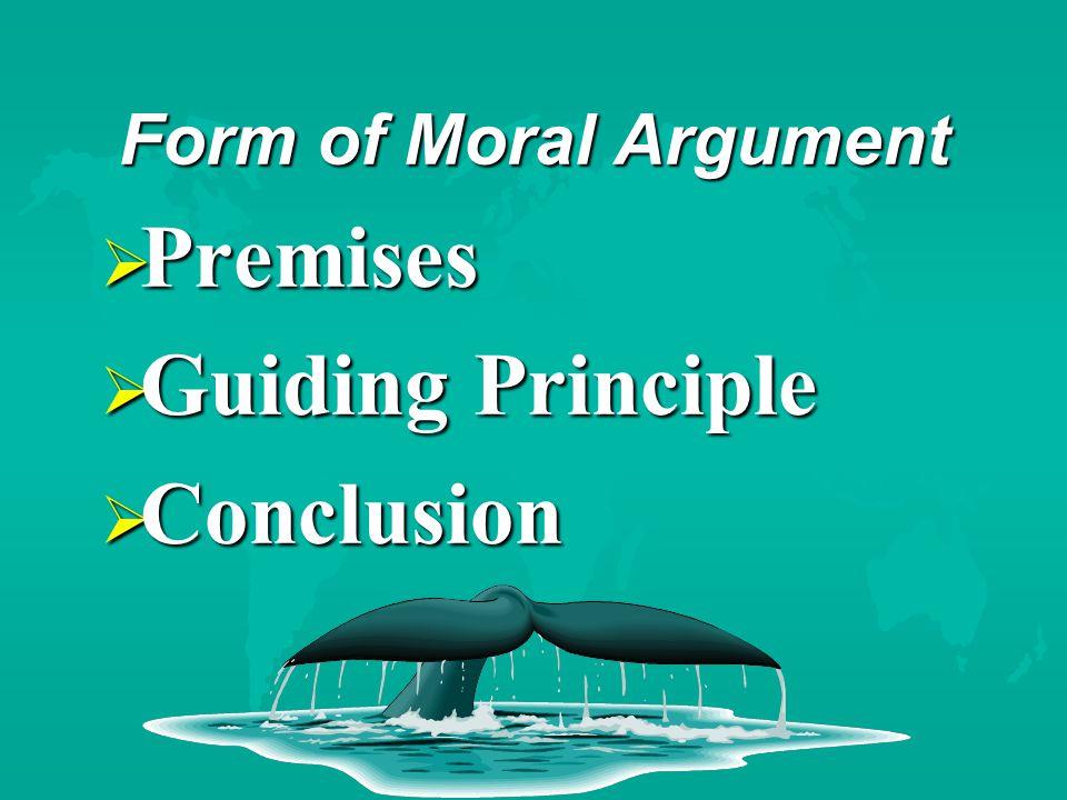 Form of Moral Argument  Premises  Guiding Principle  Conclusion