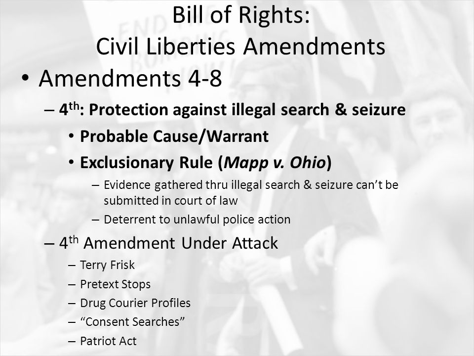 essay prompt for what reasons and in what ways was the united  bill of rights civil liberties amendments amendments 4 8 4 th protection
