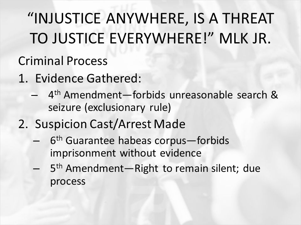 INJUSTICE ANYWHERE, IS A THREAT TO JUSTICE EVERYWHERE! MLK JR.