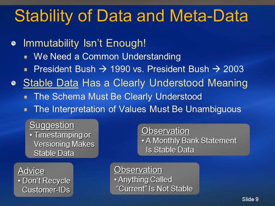 Slide 10 Normalization & Read-Only Data Databases Design for Normalized Data Can Be Changed Without Funny Behavior Each Data Item Lives in One Place Sometimes Data Should Be De-Normalized If Data Is Read-Only Databases Design for Normalized Data Can Be Changed Without Funny Behavior Each Data Item Lives in One Place Sometimes Data Should Be De-Normalized If Data Is Read-Only Emp #Emp NameMgr #Mgr NameEmp Phone Mgr Phone 47Joe13Sam5-1234 6-9876 18Sally38Harry3-3123 5-6782 91Pete13Sam2-1112 6-9876 66Mary02Betty5-7349 4-0101 Classic problem with de-normalization Can't update Sam's phone # since there are many copies De-normalization is OK if you aren't going to update!