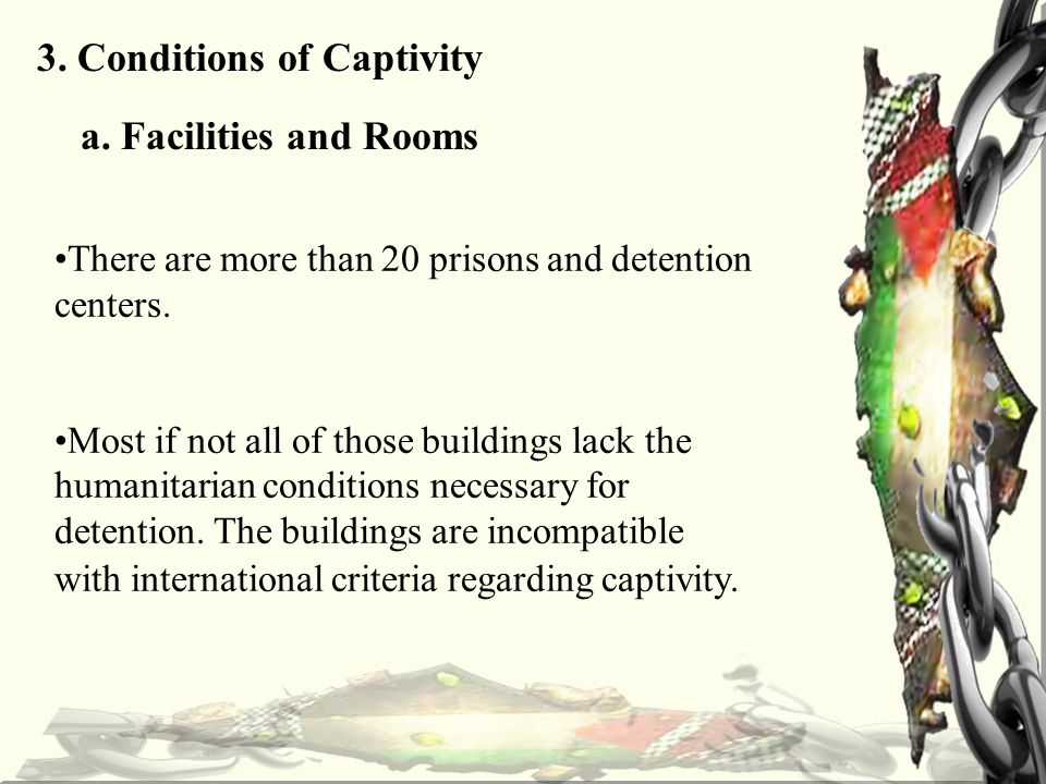 3. Conditions of Captivity a.