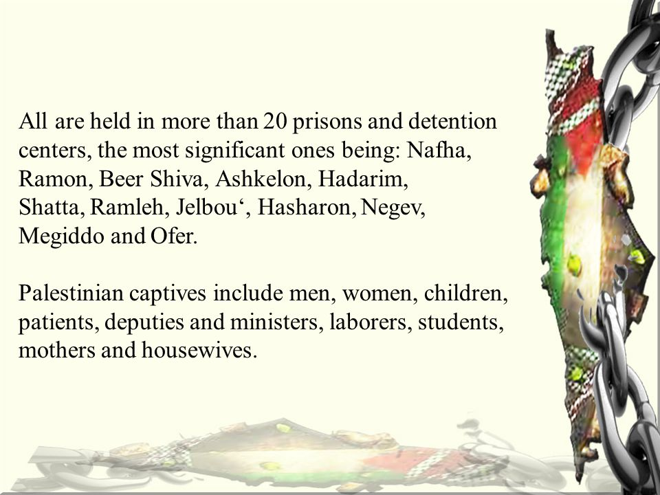 All are held in more than 20 prisons and detention centers, the most significant ones being: Nafha, Ramon, Beer Shiva, Ashkelon, Hadarim, Shatta, Ramleh, Jelbou', Hasharon, Negev, Megiddo and Ofer.