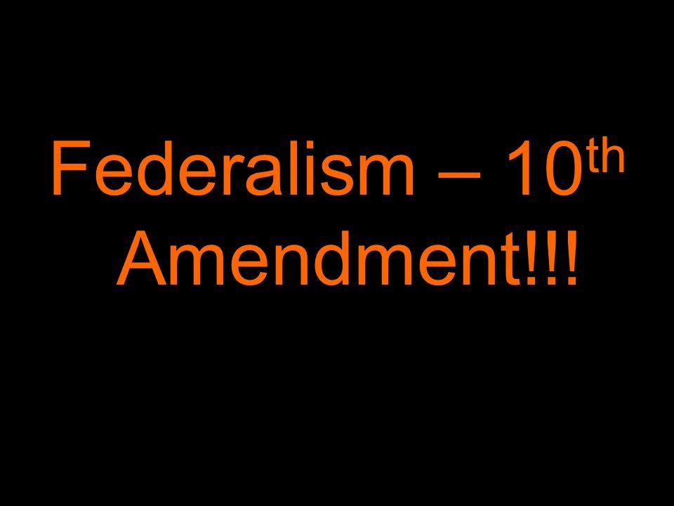 Federalism – 10 th Amendment!!!