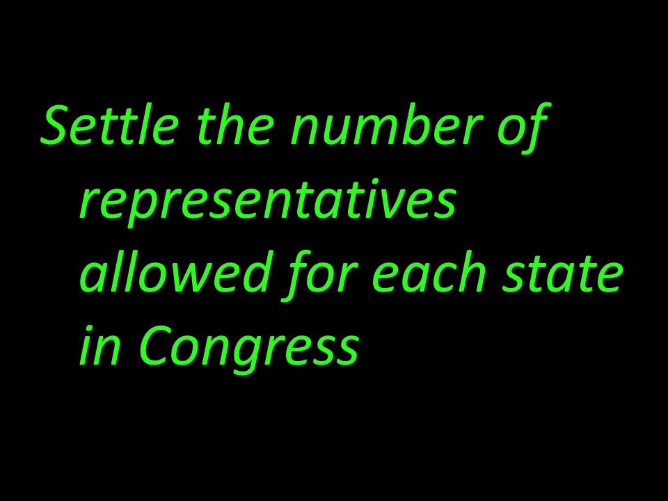 Settle the number of representatives allowed for each state in Congress