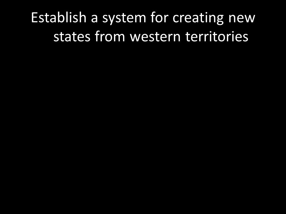 Establish a system for creating new states from western territories