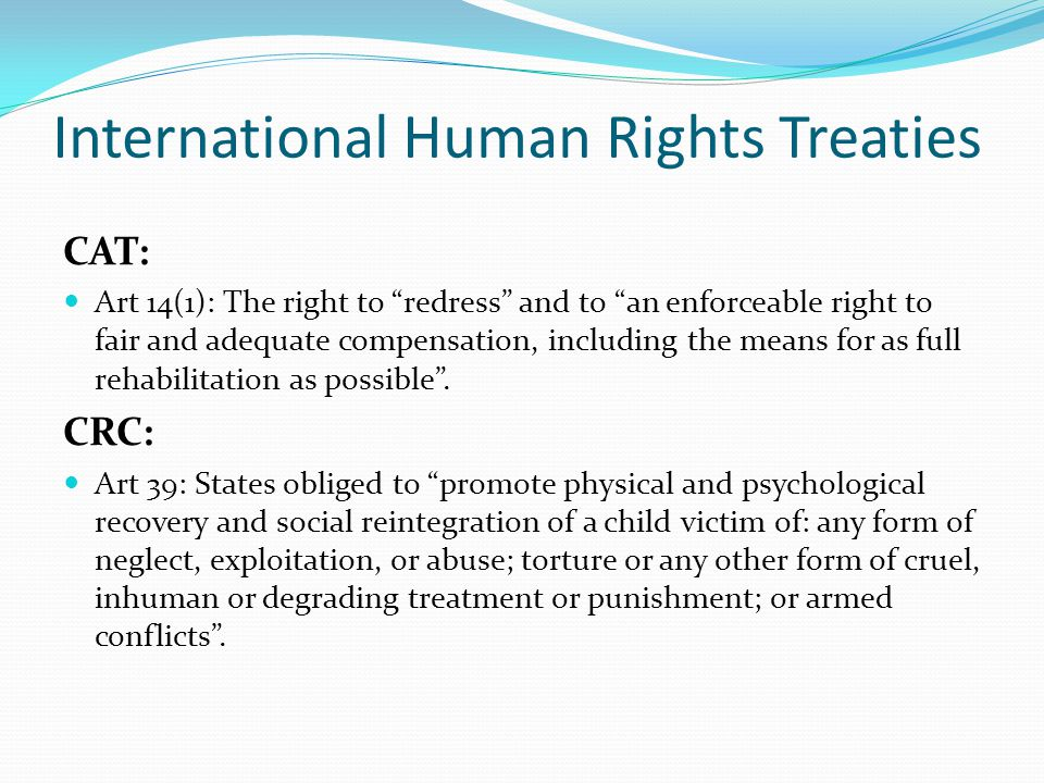 International Human Rights Treaties CERD: Art 6: States obliged to ensure effective protection and remedies, through the competent national tribunals and other State institutions , as well as the right to seek from such tribunals just and adequate reparation or satisfaction for any damage suffered as a result of racial discrimination.