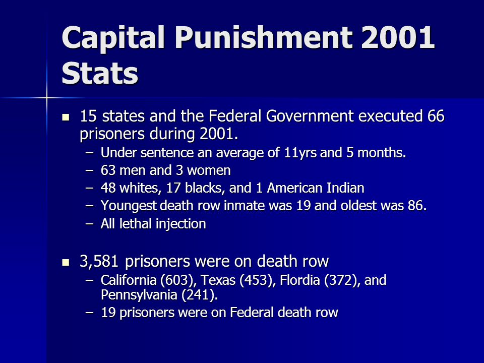 Capital Punishment 2001 Stats 15 states and the Federal Government executed 66 prisoners during 2001.