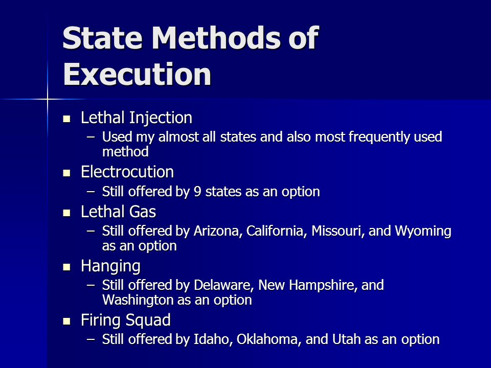 State Methods of Execution Lethal Injection Lethal Injection –Used my almost all states and also most frequently used method Electrocution Electrocution –Still offered by 9 states as an option Lethal Gas Lethal Gas –Still offered by Arizona, California, Missouri, and Wyoming as an option Hanging Hanging –Still offered by Delaware, New Hampshire, and Washington as an option Firing Squad Firing Squad –Still offered by Idaho, Oklahoma, and Utah as an option