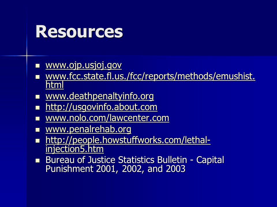 Resources www.ojp.usjoj.gov www.ojp.usjoj.gov www.ojp.usjoj.gov www.fcc.state.fl.us./fcc/reports/methods/emushist.