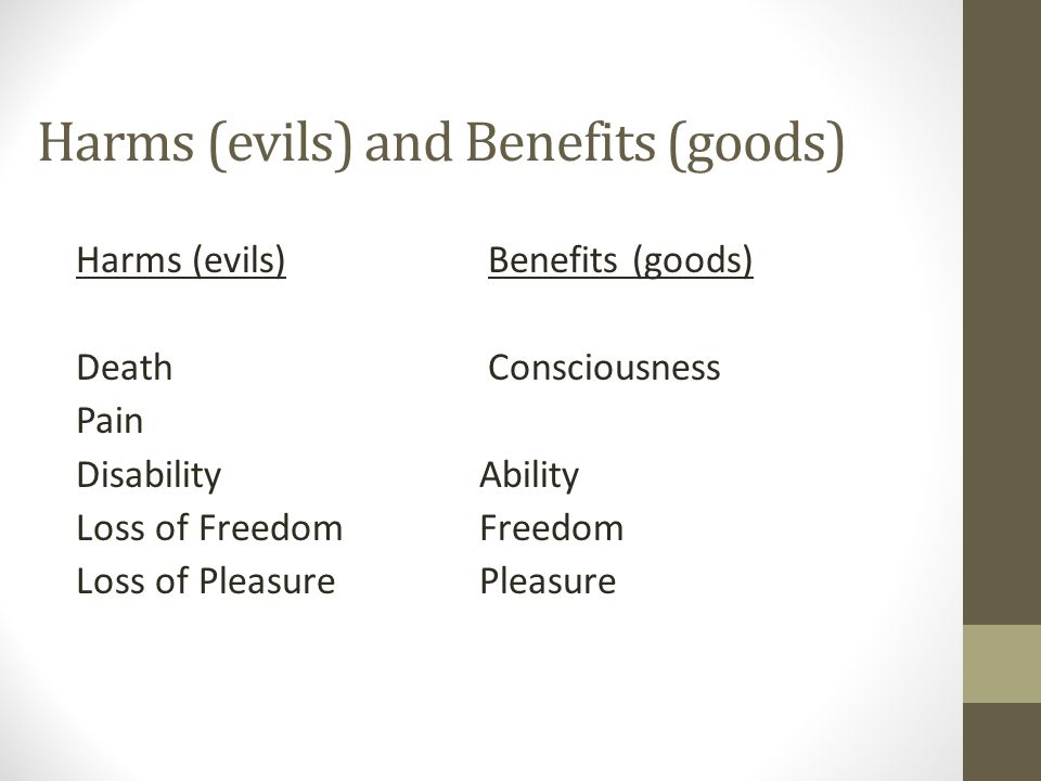 Harms (evils) and Benefits (goods) Harms (evils) Benefits (goods) Death Consciousness Pain DisabilityAbility Loss of Freedom Freedom Loss of Pleasure Pleasure