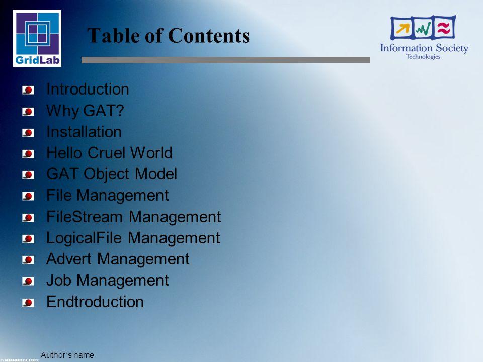 Author's name GAT Object Model The GATObject …