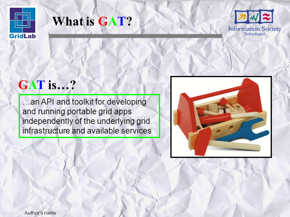 Author's name Job Management Job Package GATJobDescription A GATJobDescription instance describes a job which is can be executed.