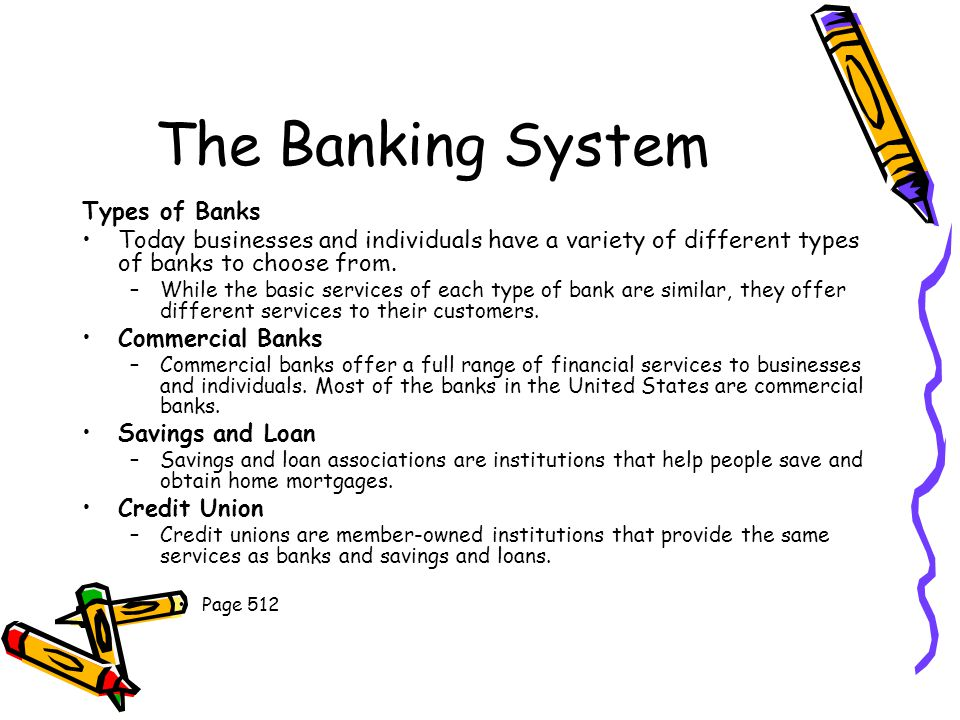 The Banking System Types of Banks Today businesses and individuals have a variety of different types of banks to choose from.