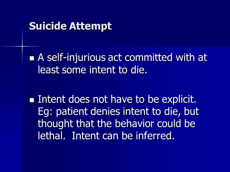 Suicide Attempt A self-injurious act committed with at least some intent to die.