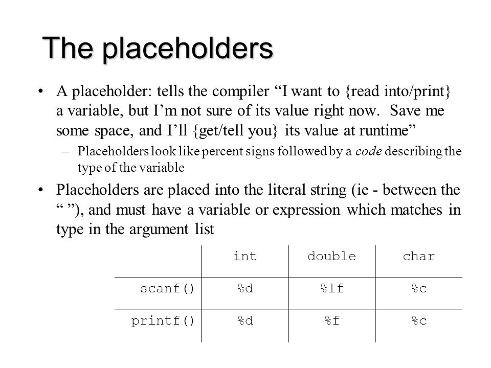The placeholders A placeholder: tells the compiler I want to {read into/print} a variable, but I'm not sure of its value right now.
