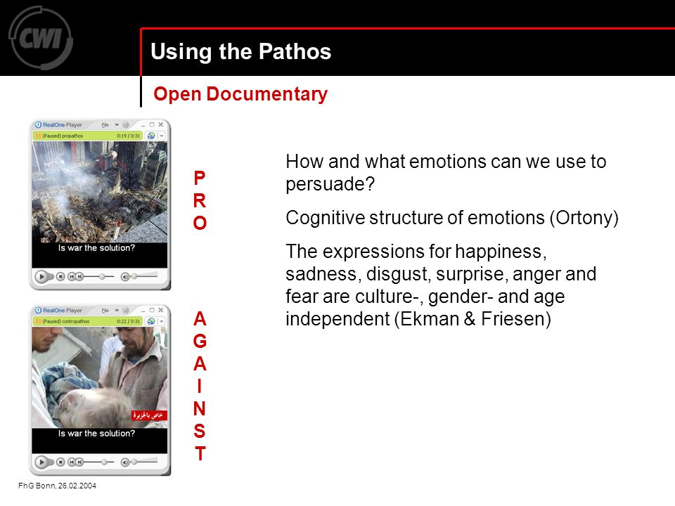 FhG Bonn, 26.02.2004 Using the Pathos How and what emotions can we use to persuade.