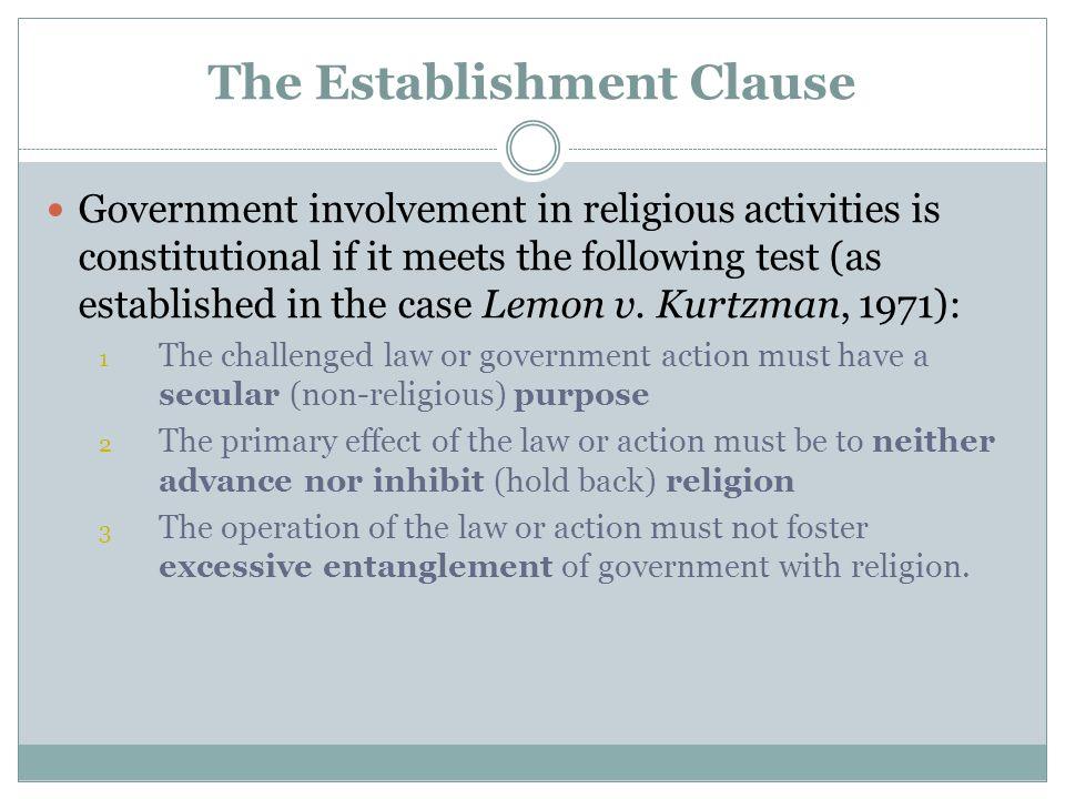 Lemon v.Kurtzman Can the government fund religious schools.