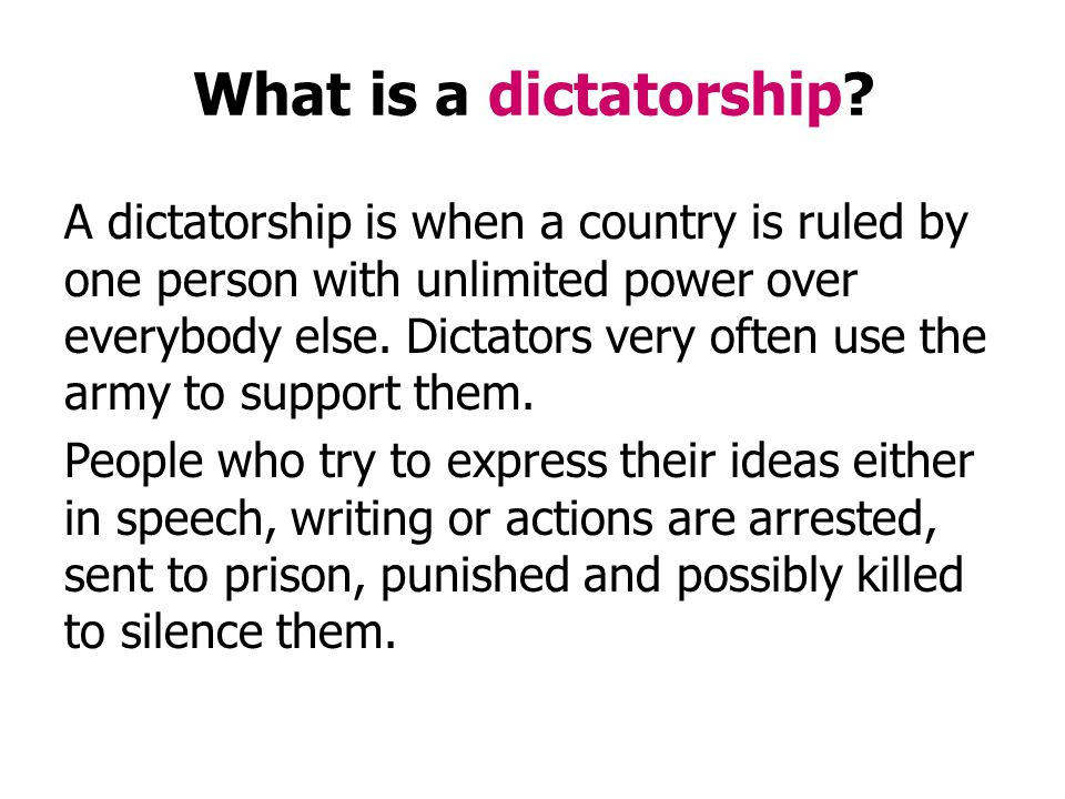 Can you think of examples of famous dictators in history.