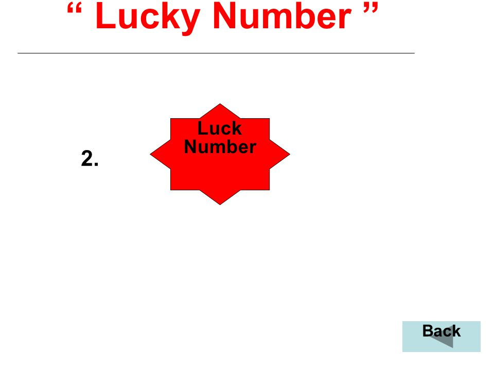 """"""" Lucky Number """" 2. Luck Number Back"""